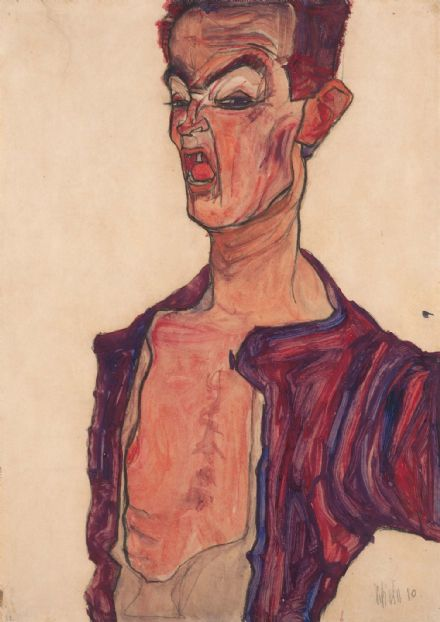 Schiele, Egon: Self-Portrait, Grimacing. Fine Art Print/Poster. Sizes: A4/A3/A2/A1 (003721)